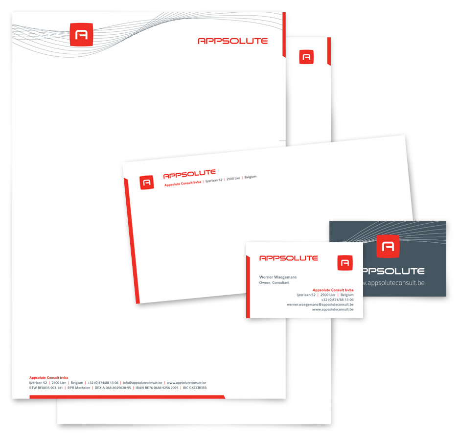 grafische vormgeving briefpapier, volgblad, omslag, visitekaartje Appsolute